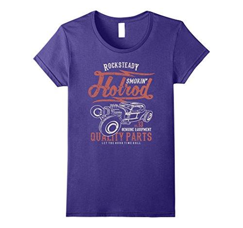 [Women's Rock & Roll T Shirts - Rocksteady Smokin Hotrod Car Tees XL Purple] (70s Era Clothing)
