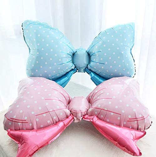 AnnoDeel Happy Birthday Blue Bow foil Balloons Banner 32inch Blue Heart Bow Sweet Birthday Letter Mylar Balloons for Girl Baby Shower Birth Party Decoration