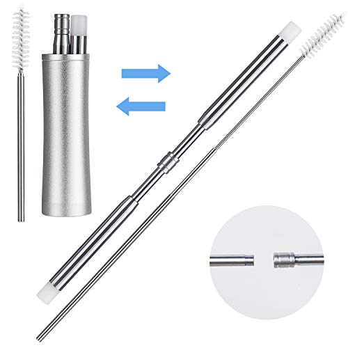 Reusable Telescopic Drinking Straw 18/8 Stainless Steel, Collapsible Metal Medical and Food Grade Drinking Straws, Pocket Size Portable Metal Box with Keychain and Cleaning Brush for Travel and Home by IBEET