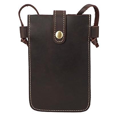 Menschwear Unisex Genuine Leather Mobile Phone Bag Cross-body Bag 85%OFF