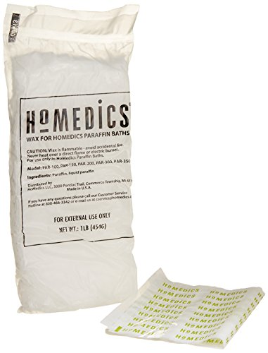HoMedics, ParaSpa Paraffin Wax Refill | Two 1-Pound Packages - 100% Pure, Hypoallergenic Paraffin Wax | 20 Plastic Liners | Unscented, No Dyes | Moisturize & Soften Sensitive Skin (Homedics Paraspa Personal)