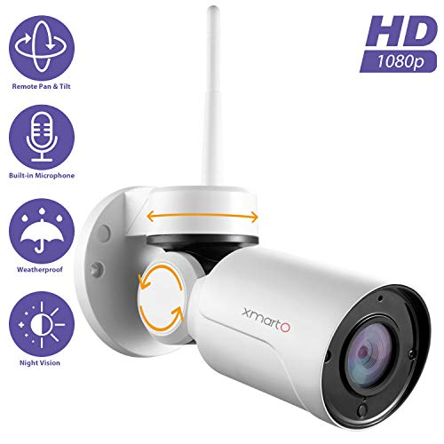 xmartO WP2024 [Pan Tilt & Built-in Audio] Add-on 1080p HD Wireless Pan Tilt Outdoor Security Camera 4mm Lens, 180° Pan and 55° Tilt Remote Control, 4X Digital Zoom and 80' IR Night Vision xmartO