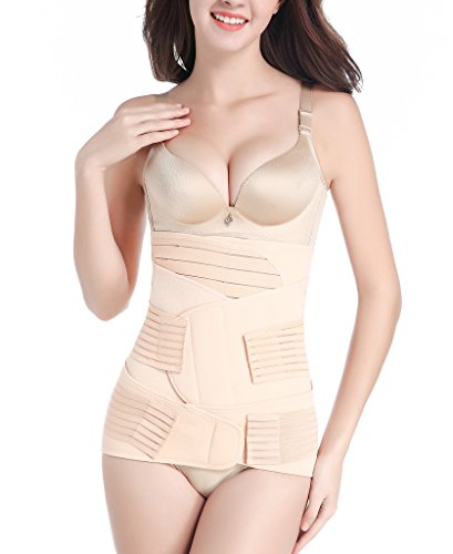 SAYFUT 3 in 1 Postpartum Support - Recovery Belly/waist/pelvis Belt Shapewear , Nude Stripes , Medium ()