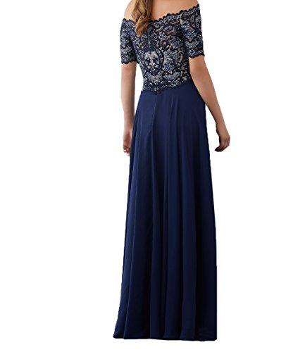 Damen Kurzarm Linie Dunkel Abendkleider Spitze Brautmutterkleider Chiffon Formalkleider Charmant A Lang Blau Festlichkleider Promkleider SqATdS5