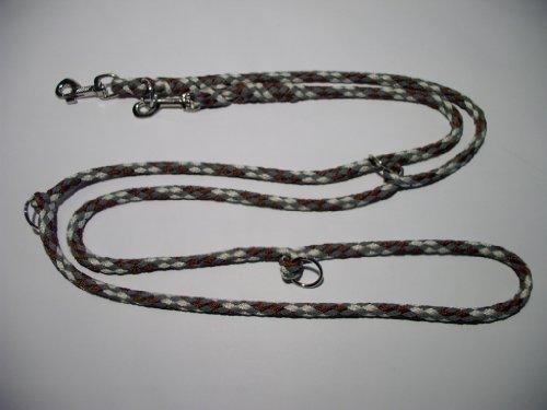 Hundeleine Doppelleine 2,80m 4fach verstellbar braun-beige-grau