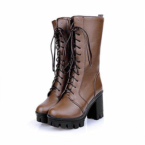 Carol Zapatos Fashion Mujeres Casual Plataforma Con Cordones Vintage Chunky High Heel Cosplay Botas Marrón