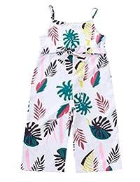 COLOOM Baby Girls Little Kids Suspender Overalls Straight Long Pants Jumpsuit Romper Coveralls for Girls 2-7T