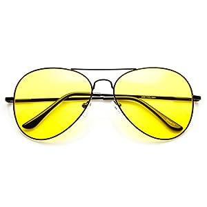zeroUV - Classic Metal Frame Yellow Tinted Night Driving Aviator Sunglasses (Black-Black Yellow)
