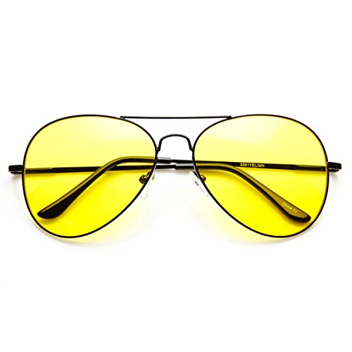 zeroUV - Classic Metal Frame Yellow Tinted Night Driving Aviator Sunglasses (Black-Black - Glasses Hangover