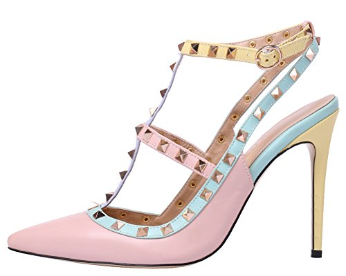 Pink Heels Shoes (MONICOCO Women's Stiletto Heels Pumps with Studded T-strap Shoes Pink PU 6 M)