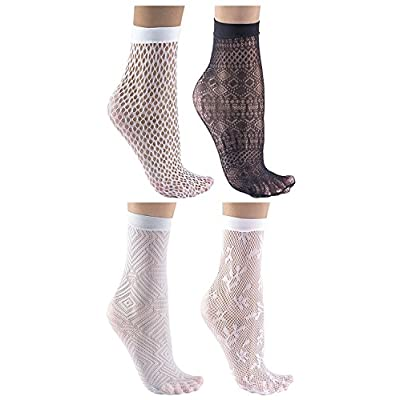 Felicity Sheer Ankle Socks, Fishnet Socks, Sheer Socks, Nylon Socks (Assorted B (4 Pack)) at Women's Clothing store