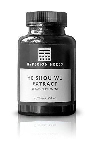 He Shou Wu Extract 90cap - ORGANIC - Hyperion Herbs - 16:1 Concentration - Potent Gray Hair + Anti Aging Tonic - Fo-Ti Extract (Hair Shou Wu)