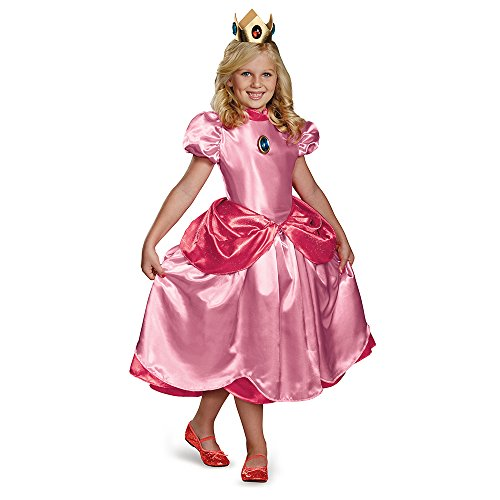 Nintendo Super Mario Brothers Princess Peach Deluxe Girls Costume, (Character Costumes For Kids)