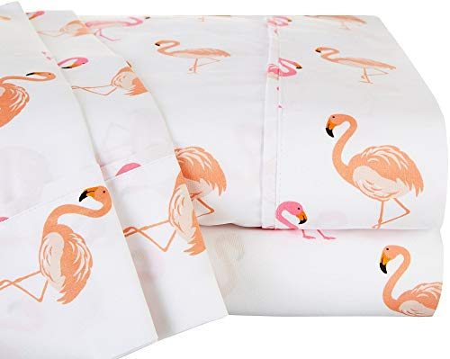 Swift Home Caribbean Joe Ultra-Soft Double Brushed 4-Piece Microfiber Sheet Set. Beautiful Tropical Patterns, and Vibrant Solid Colors, Luxury, All-Season Bed Sheet Set - Flamingo, Full