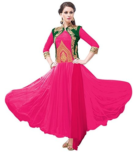 Vibes Womens Net Patch Work Anarkali Dress Material (V277-9046 _Pink _Free Size)