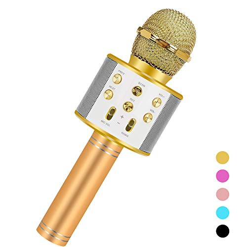 Birthday Gifts For 3-15 Year Old Girls,Niskite Portable Bluetooth Karoake Microphone For Kids Age 7 8 9 10 11,Popular Toys for 4-15 Year Old Boys Girls Gold
