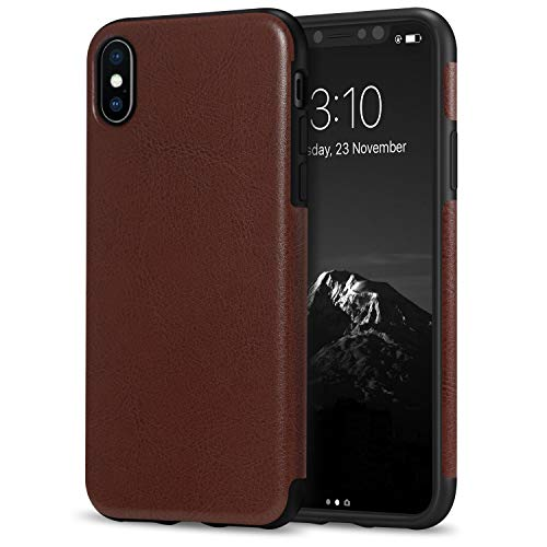 TENDLIN Compatible with iPhone Xs Case/iPhone X Case Premium Leather Outside and Flexible TPU Silicone Hybrid Slim Case (Brown)