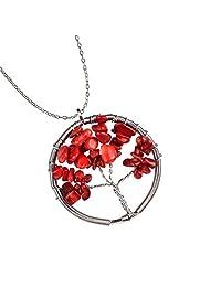 Joya Gift Fashion Jewelry Handmade Natural Charm Gemstone Bead Necklace Wire Wrapped Tree of Wisdom Life Pendant