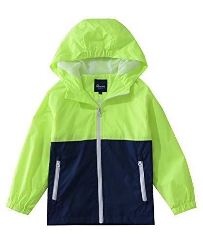 Hiheart Boys Summer Lightweight Hooded Jackets Spring Outdoor Windbreaker Green Navy 9/10