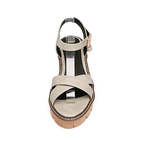 Ouverture Femme Gris À Sandales Correct Cuir Pu Gmblb015145 D'orteil Talon Boucle Agoolar n5aPnx