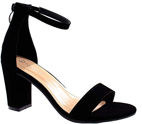 TOP Moda Women's Fashion Ankle Strap High Heel Sandal Shoes Black 10