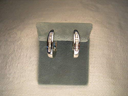 (Gorgeous Estate 14K White Gold Baguette Diamond Hoop Huggie Earrings Hoops)
