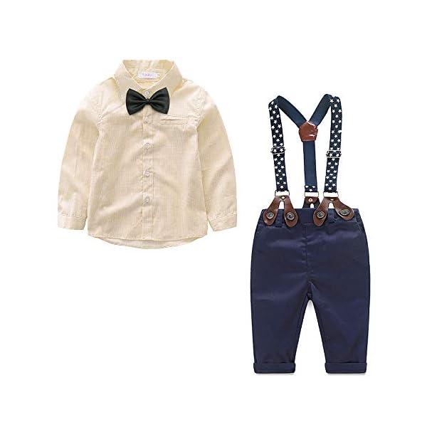 Baby Boy Clothes Set Plaid Shirt + Bowtie + Suspender Pant 4pcs Toddler Boy Infant Gentleman Outfits Suit