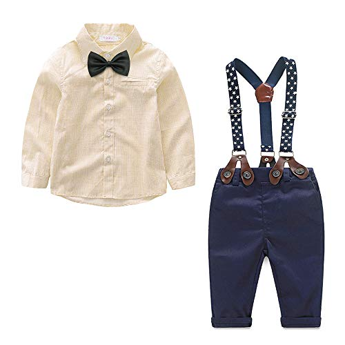 Yilaku Baby Boys Long Sleeve Shirt Gentleman Suspender Pants Clothing Set Overalls Romper Jumpsuit Clothes Toddler Outfit(Yellow, 9-12Month) -