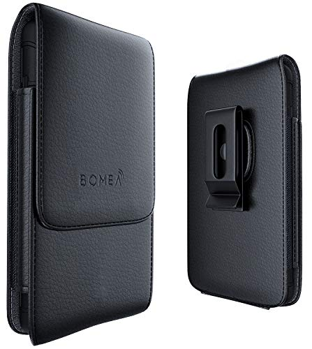 Bomea Vertical iPhone 6 6S 7 8 Leather Pouch Belt Case with Clip Holster Cover Holder for Apple iPhone 6S/7/8(Fits Phone with Otterbox Battery Mophie or Lifeproof Case on) Swivel Clip - Black ()