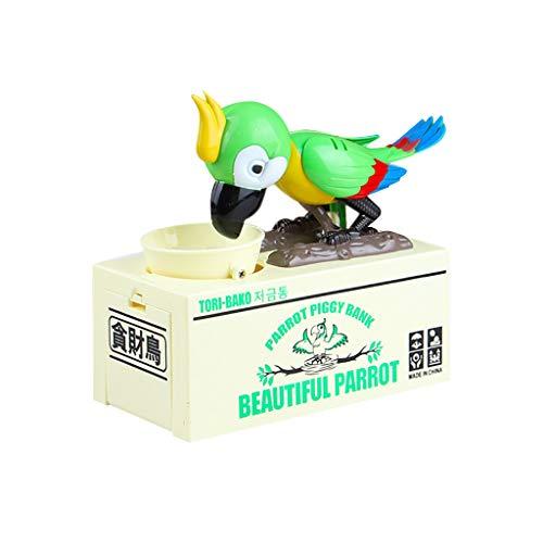 CMrtew ❤️ Cutest Parrot Coin Bank Stealing Money My Parrot Piggy Box for Christmas Day Robotic Bird Money Pot (Green, 15.5x8x18cm) -