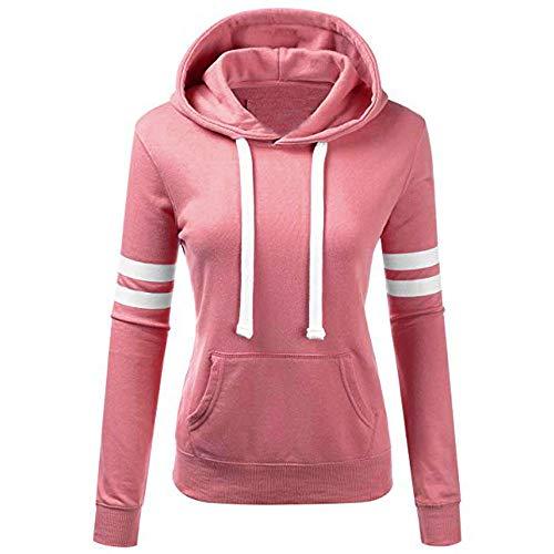 TUSANG Women Stripe Sweatshirt Long Sleeve Blouse Hooded Pocket Pullover Tops Shirt Pullover Shirt Outwear(Pink,L)