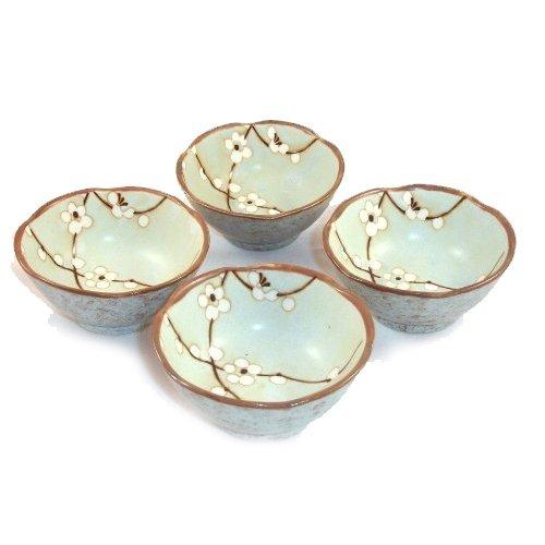 Blossom Bowl Set (Set of Japanese Sakura Cherry Blossom Soy Sauce Dipping Bowls 3 1/2 Inch by Japan)