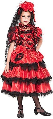 (Italian Made Girls Deluxe Spanish Flamenco Dancer Carnival Halloween Fancy Dress Costume Outfit 1-10 years (2)