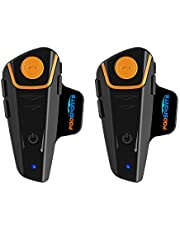Motorcycle Bluetooth Headset FreedConn BT-S2 Pro Intercom Helmet Communication System for Motorbike Skiing Hands-Free Call/FM/ MP3/ Range 800M/ 3 Riders Pairing/Walkie Talkie Supported/ Usable When Charging (Dual Pack of Soft Mic Cord)