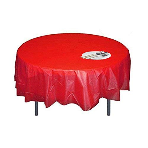 Disposable Plastic Tablecloth 5 Pack Red Round Table Covers for Christmas Party 84 inch