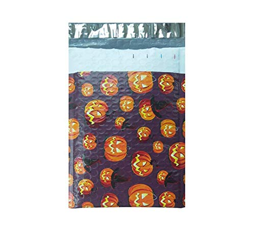 Allegro Huyer Poly Bubble Mailers 25pcs/175228mm/6x9inch Usable Space Halloween Pumpkin Lantern Poly Bubble Mailer envelopes Padded Mailing Bag Self Sealing
