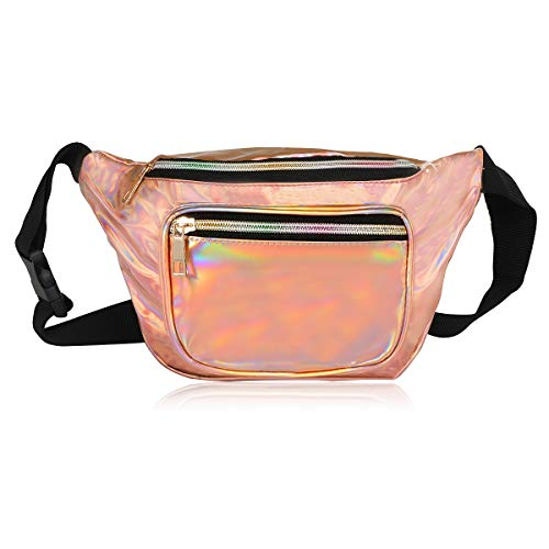 Fashion Holographic Fanny Pack for Women,Waterproof Cute Waist Bag for Teen Girls,80s Neon Fanny Pack with Adjustable Strap for Travel,Cycling,Festival,Running,Hiking,Festival Party,Rave (Rose Gold)]()