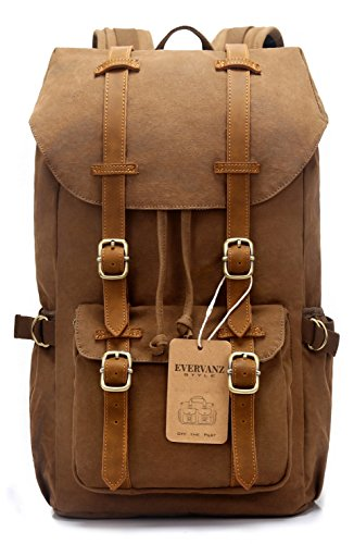EverVanz Outdoor Canvas Leather Backpack, Travel Hiking Camping Rucksack Pack, Large Casual Daypack, College School Backpack, Shoulder Bags Fits 15