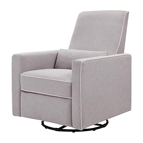 DaVinci Piper All-Purpose Upholstered Recliner and Swivel Glider, Grey with Cream Piping