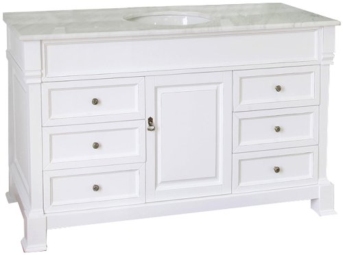 Bellaterra Home 205060-S-WH 60-Inch Single Sink Vanity, Wood, White