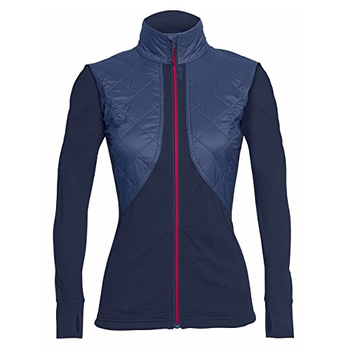 Price comparison product image Icebreaker Merino Women's Ellipse Long Sleeve Zip Jacket,  Admiral / Pop Pink
