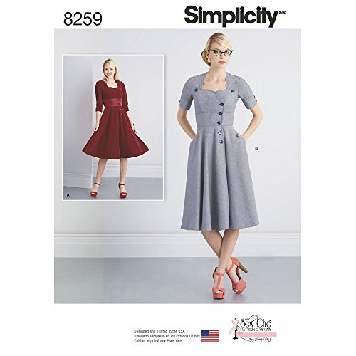 Simplicity Pattern 8259 Y5 Misses' Sew Chic Button Front Dresses, Size 18-20-22-24-26 (Dress Pattern Front)