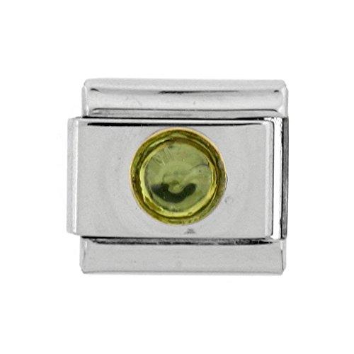 (Sabrina Silver Stainless Steel 18k Gold August Birthstones Charm for Italian Charm Bracelets )
