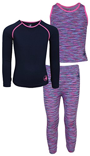 Price comparison product image 'Body Glove Girl\'s 3 Piece Athletic Tank Top, Long Sleeve Shirt and Leggings Set, Space Dye Navy 10/12'