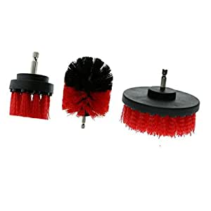 Baoblaze Drill Brush Attachments 3 Pack All Purpose Cleaner Scrubbing Brushes for Bathroom Surface, Grout, Tub, Shower, Kitchen, Auto,Boat,RV, 3 Colors to Choose - Red