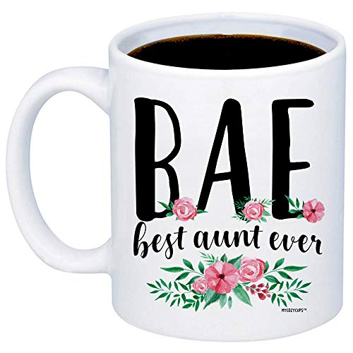 MyCozyCups Gift For Auntie - BAE Best Aunt Ever Coffee Mug - Funny Cute Unique 11oz Novelty Cup For Women, Her, Aunt - Christmas, Birthday, Valentine's Day, Mother's Day - Sarcastic Quote Mug