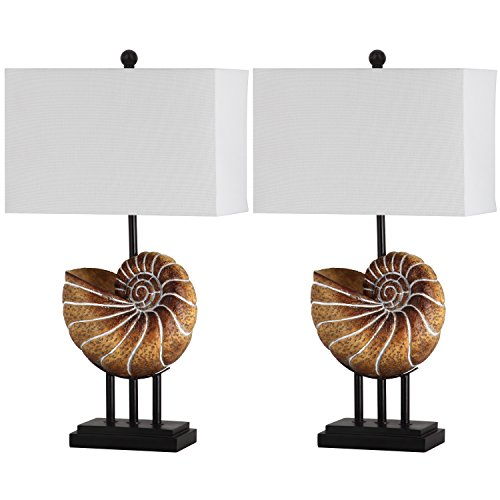 - Safavieh Lighting Collection Nautilus Shell Lt Brown 28-inch Table Lamp (Set of 2)