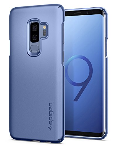 Spigen Thin Fit Galaxy S9 Plus Case with SF Coated Non Slip Matte Surface for Excellent Grip and QNMP Compatible for Galaxy S9 Plus (2018) - Coral Blue