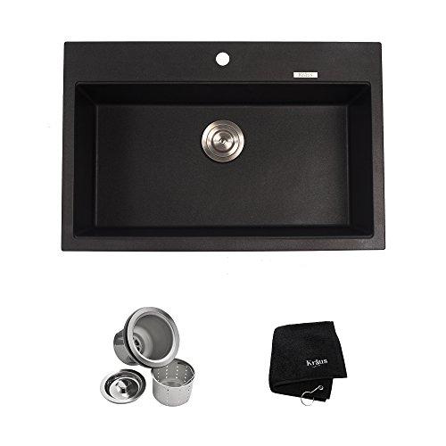Dual Kitchen Sink (Kraus KGD-412B 31 1/5 inch Dual Mount Single Bowl Black Onyx Granite Kitchen)