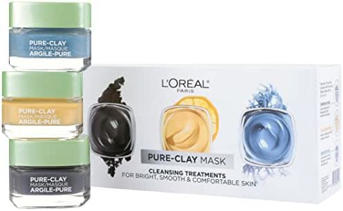 L'Oreal Paris Skin Care Pure-Clay Face Mask Set Includes Face Mask With Charcoal, Face Mask With Yuzu Lemon and Face Mask With Seaweed, 1 Kit, Combo